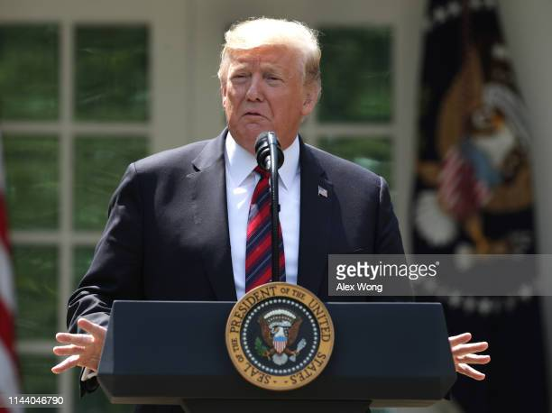 President Donald Trump speaks about immigration reform in the Rose Garden of the White House on May 16, 2019 in Washington, DC. President Trump's new...