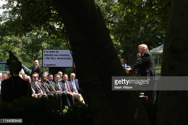 S President Donald Trump speaks about immigration reform in the Rose Garden of the White House on May 16 2019 in Washington DC President Trump's new...
