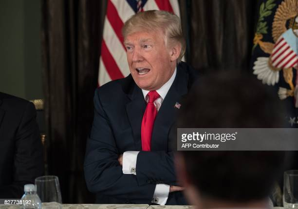 US President Donald Trump speaks about North Korea at a meeting with administration officials on the opioid addiction crisis at the Trump National...