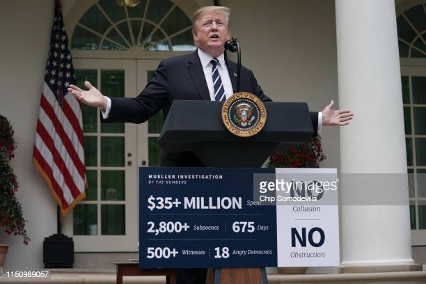 S President Donald Trump speaks about Robert Mueller's investigation into Russian interference in the 2016 presidential election in the Rose Garden...