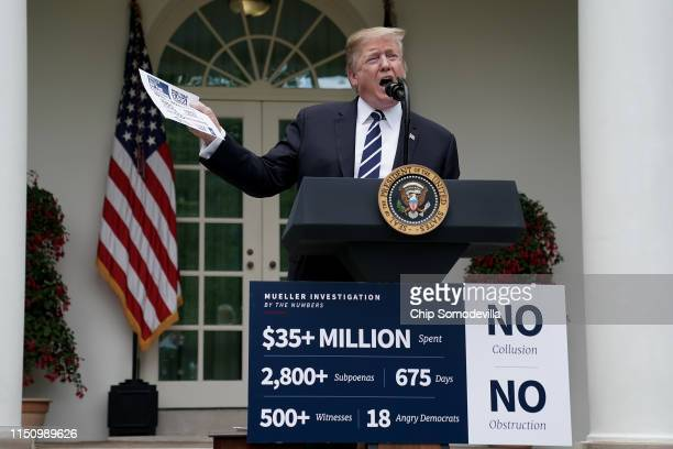 President Donald Trump speaks about Robert Mueller's investigation into Russian interference in the 2016 presidential election in the Rose Garden at...