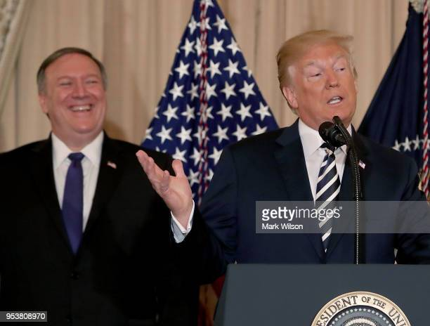 President Donald Trump speaks about Secretary of State Mike Pompeo during a ceremonial swearing in at the State Department on May 2 2018 in...