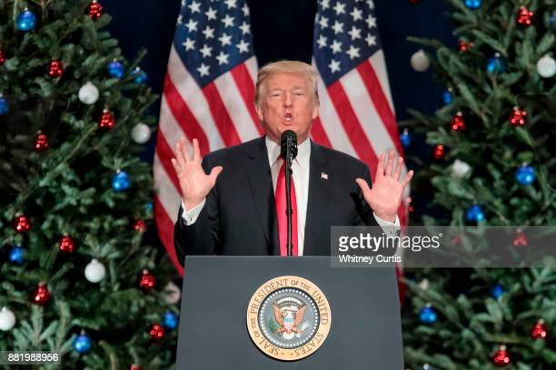S President Donald Trump speaks about tax reform at the St Charles Convention Center on November 29 2017 in St Charles Missouri
