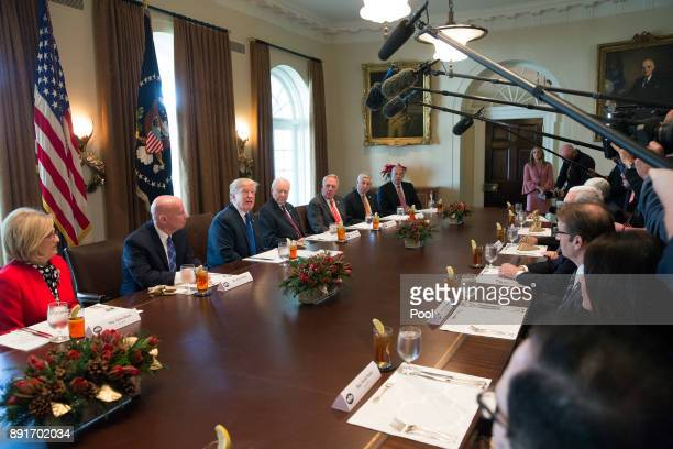 US President Donald Trump speaks about tax reform during a bicameral meeting on December 13 2017 at the White House in Washington DC