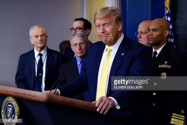 President Donald Trump speaks about the COVID-19 alongside members of the Coronavirus Task Force in the Brady Press Briefing Room at the White House...