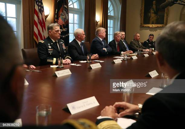 S President Donald Trump speaks about the FBI raid at his lawyer Michael Cohen's office while receiving a briefing from senior military leaders...