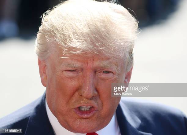 S President Donald Trump speaks about the resignation of Labor SecretaryAlex Acosta while talking to the media at the White House on July 12 2019 in...