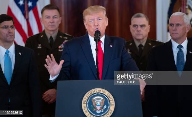 US President Donald Trump speaks about the situation with Iran in the Grand Foyer of the White House in Washington DC January 8 2020 US President...