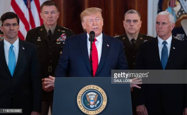 US President Donald Trump speaks about the situation with Iran in the Grand Foyer of the White House in Washington DC January 8 2020