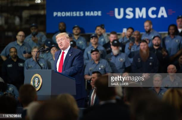 President Donald Trump speaks about the United States - Mexico - Canada agreement, known as USMCA, during a visit to Dana Incorporated, an auto...