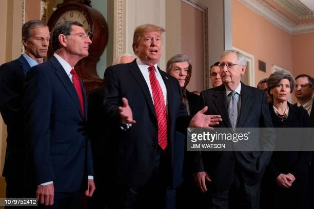 US President Donald Trump speaks after a Senate Republican policy lunch in Washington DC on January 9 2018