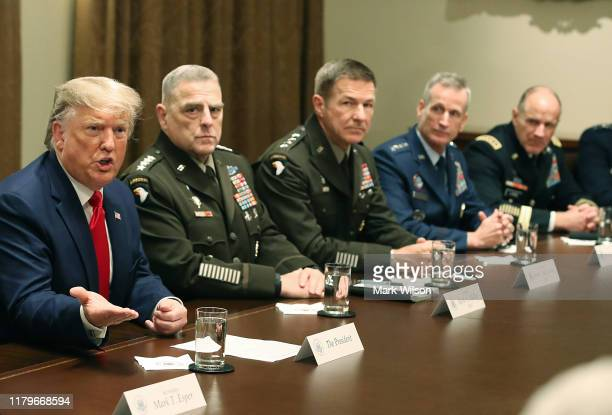 S President Donald Trump speaks after getting a briefing from senior military leaders in the Cabinet Room at the White House on October 7 2019 in...