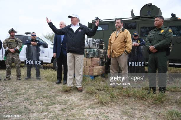 President Donald Trump speaks after he received a briefing on border security next to Sen. John Cornyn R-TX and Sen. Ted Cruz R-TX near the Rio...