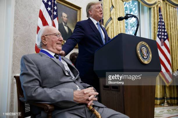 US President Donald Trump speaks after presenting the Presidential Medal of Freedom to Robert Cousy former National Basketball Association player for...