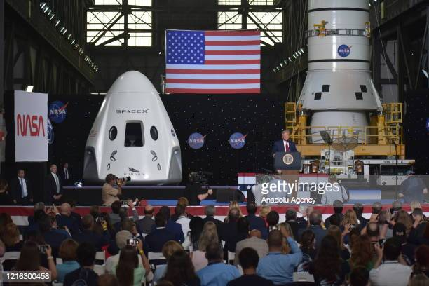 President Donald Trump speaks after the launch of the SpaceX Falcon 9 rocket and Crew Dragon spacecraft on NASA's SpaceX Demo-2 mission to the...