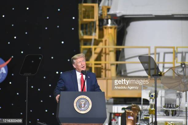 S President Donald Trump speaks after the launch of the SpaceX Falcon 9 rocket and Crew Dragon spacecraft on NASA's SpaceX Demo2 mission to the...