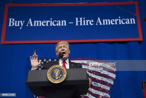US President Donald Trump speaks after touring SnapOn Tools in Kenosha Wisconsin April 18 prior to signing the Buy American Hire American Executive...