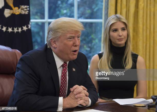 US President Donald Trump speaks along side his daughter Ivanka Trump while holding a video conference to the International Space Station with NASA...