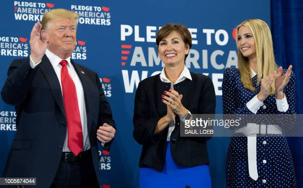 US President Donald Trump speaks alongside Iowa Governor Kim Reynolds and daughter Ivanka Trump as he holds a roundtable discussion on workforce...