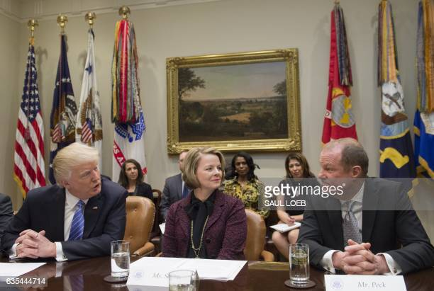 US President Donald Trump speaks alongside Jill Soltau CEO of JoAnn stores and Art Peck CEO of Gap Inc as he meets with retail industry leaders in...
