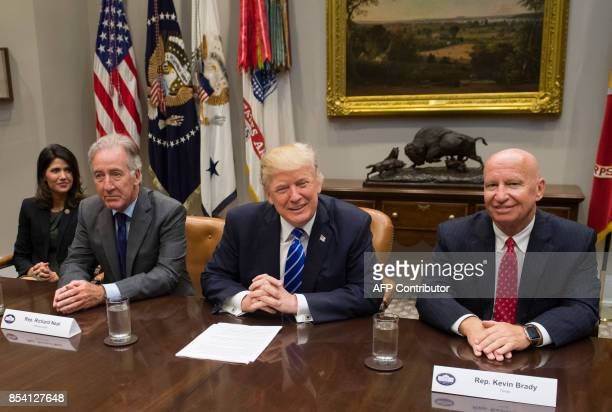 US President Donald Trump speaks alongside US Representative Kevin Brady Republican of Texas and Chairman of the House Committee on Ways and Means US...