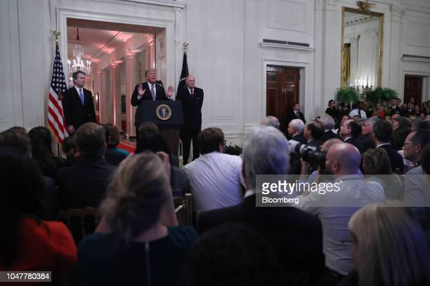 US President Donald Trump speaks as Brett Kavanaugh associate justice of the US Supreme Court and Anthony Kennedy former associate justice of the US...