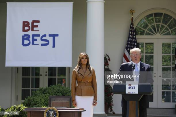 US President Donald Trump speaks as First Lady Melania Trump stands during a 'Be Best' initiative event in the Rose Garden of the White House in...