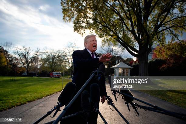 US President Donald Trump speaks as he departs the White House in Washington DC on November 20 2018 Trump is traveling to MaraLago in Palm Beach...