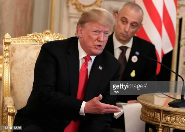 S President Donald Trump speaks as he meets Japanese Prime Minister Shinzo Abe at Akasaka Palace Japanese state guest house on May 27 2019 in Tokyo...