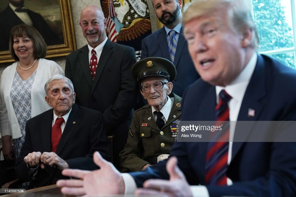 President Donald Trump Meets With World War II Veterans In The Oval Office : News Photo