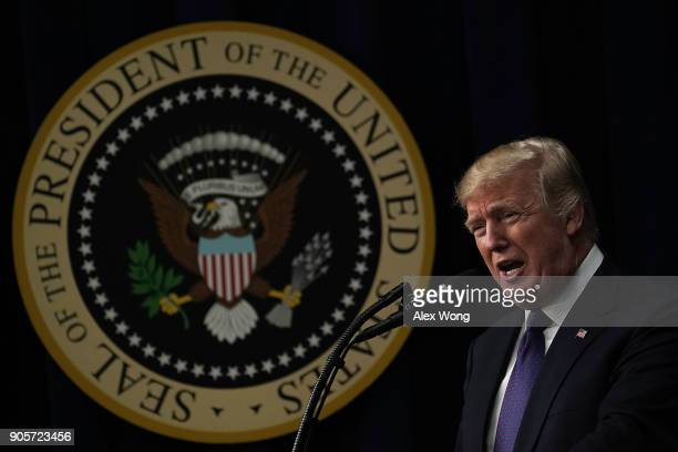 S President Donald Trump speaks as he stops by a Conversations with the Women of America panel at the South Court Auditorium of Eisenhower Executive...