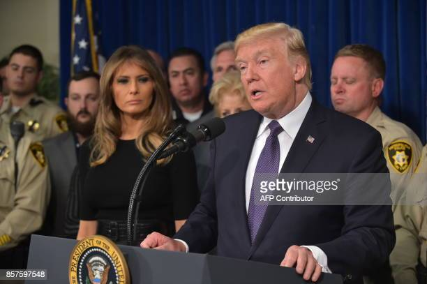 President Donald Trump speaks as he visits the Metropolitan Police Department command centre in Las Vegas Nevada on October 4 2017 President Donald...