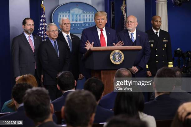 S President Donald Trump speaks as Health and Human Services Secretary Alex Azar National Institute for Allergy and Infectious Diseases Director...