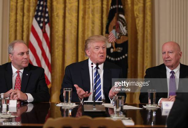 S President Donald Trump speaks as House Majority Whip Rep Steve Scalise and Rep Kevin Brady listen during a meeting with the House Deputy Whip team...