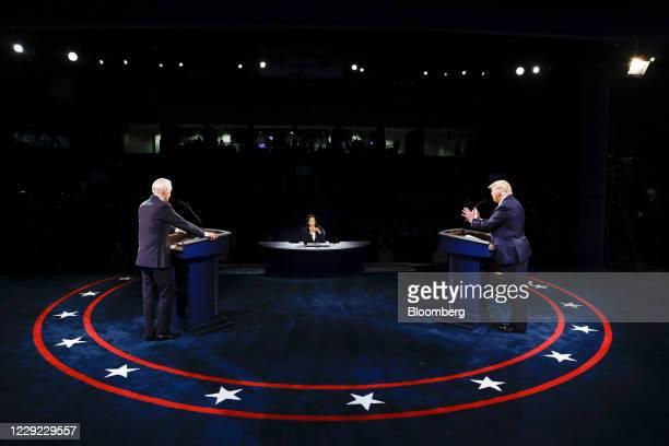 President Donald Trump speaks as Joe Biden, 2020 Democratic presidential nominee, left, listens during the U.S. Presidential debate at Belmont...
