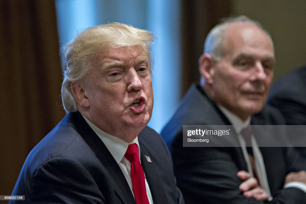 U.S. President Donald Trump speaks as John Kelly, White House chief of staff, right, listens during a briefing with senior military leaders in the Cabinet Room of the White House in Washington, D.C., U.S., on Thursday, Oct. 5, 2017. Defense Secretary Jim Mattis said this week the U.S. and allies are holding the line against the Taliban in Afghanistan as forecasts of a significant offensive by the militants remain unfulfilled. Photographer: Andrew Harrer/Bloomberg via Getty Images
