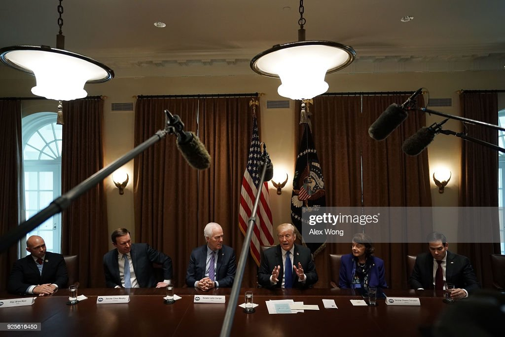 U.S. President Donald Trump (4th L) speaks as (L-R) Rep. Brian Mast (R-FL), Sen. Christopher Murphy (D-CT), Senate Majority Whip Sen. John Cornyn (R-TX), Sen. Dianne Feinstein (D-CA) and Sen. Marco Rubio (R-FL) listen during a meeting with bipartisan members of the Congress at the Cabinet Room of the White House February 28, 2018 in Washington, DC. President Trump held a meeting with lawmakers to discuss school and community safety.