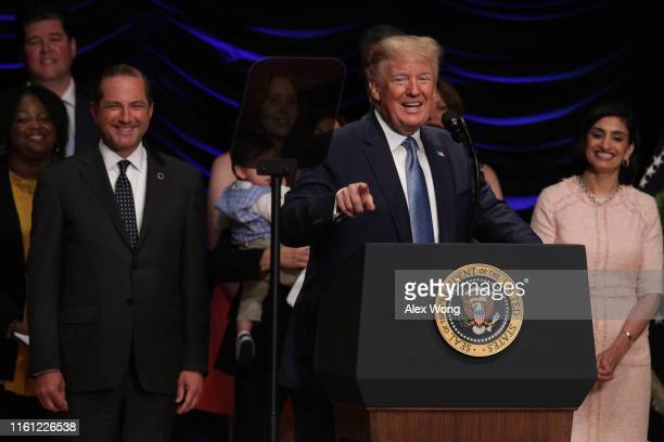 S President Donald Trump speaks as Secretary of Health and Human Services Alex Azar and Administrator of Centers for Medicare Medicaid Services Seema...