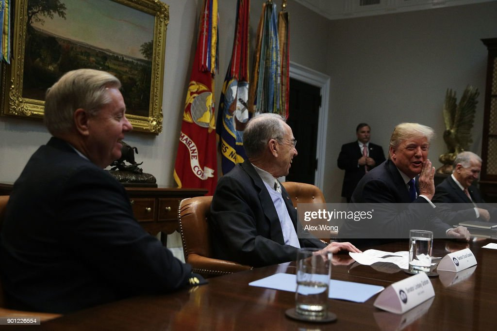 U.S. President Donald Trump (3rd L) speaks as (L-R) Sen. Lindsey Graham (R-SC), Sen. Chuck Grassley (R-IA) and Sen. Thom Tillis (R-NC) listen during a meeting in the Roosevelt Room of the White House January 4, 2018 in Washington, DC. President Trump met with Republican members of the Senate to discuss immigration.