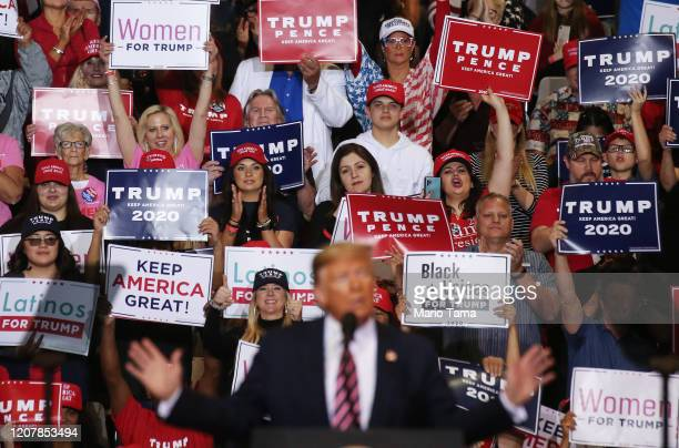 President Donald Trump speaks as supporters look on at a campaign rally at Las Vegas Convention Center on February 21 2020 in Las Vegas Nevada The...