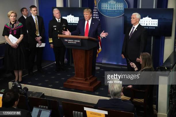 S President Donald Trump speaks as White House coronavirus response coordinator Deborah Birx Director of the Center for Medicare and Medicaid...