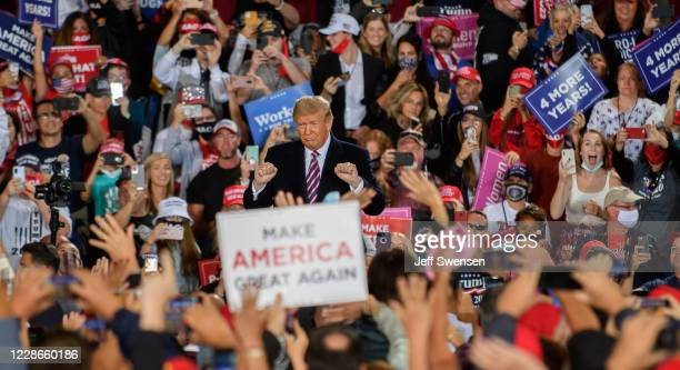 President Donald Trump speaks at a campaign rally at Atlantic Aviation on September 22, 2020 in Moon Township, Pennsylvania. Trump won Pennsylvania...