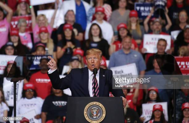 President Donald Trump speaks at a campaign rally at Las Vegas Convention Center on February 21 2020 in Las Vegas Nevada The upcoming Nevada...