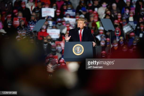 President Donald Trump speaks at a campaign rally at North Coast Air aeronautical services at Erie International Airport on October 20, 2020 in Erie,...