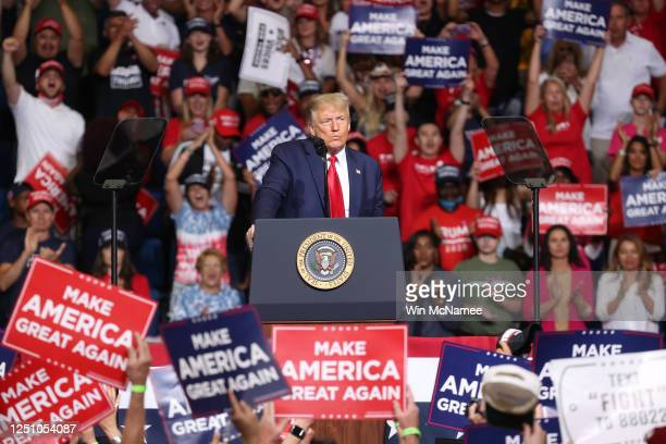 President Donald Trump speaks at a campaign rally at the BOK Center, June 20, 2020 in Tulsa, Oklahoma. Trump is holding his first political rally...