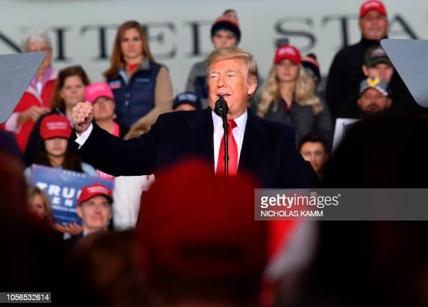President Donald Trump speaks at a campaign rally at the Huntington Tri-State Airport, on November 2 in Huntington, West Virginia.