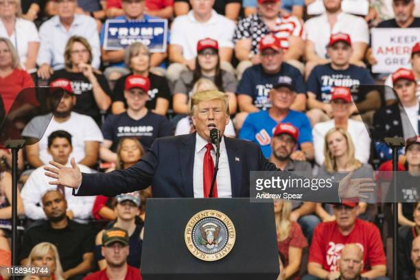 President Donald Trump speaks at a campaign rally at US Bank Arena on August 1 2019 in Cincinnati Ohio The president was critical of his Democratic...