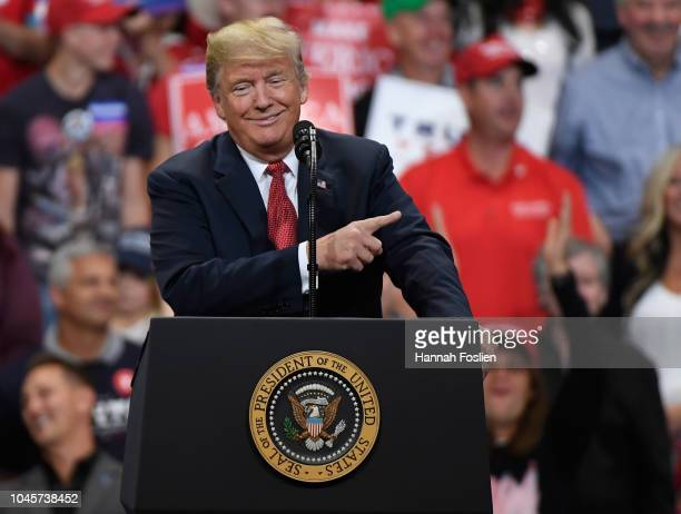 President Donald Trump speaks at a campaign rally on October 4 2018 at Mayo Civic Center in Rochester Minnesota Trump is holding rallies across the...