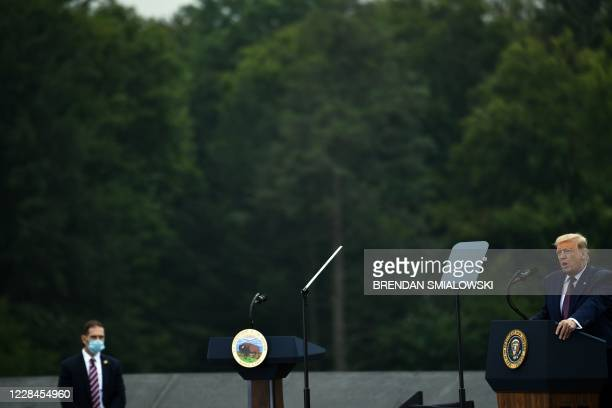 President Donald Trump speaks at a ceremony commemorating the 19th anniversary of the 9/11 attacks, in Shanksville, Pennsylvania, on September 11,...