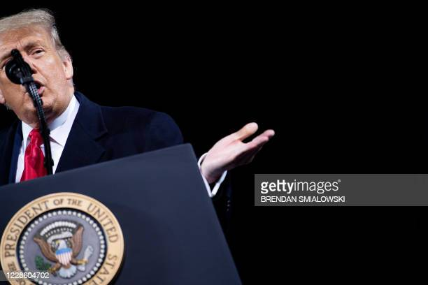 """President Donald Trump speaks at a """"Great American Comeback"""" rally in Fayetteville, North Carolina, on September 19, 2020."""